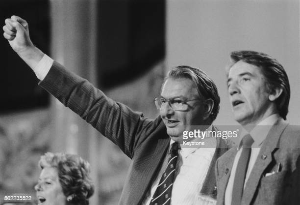 Politicians Eric Heffer and Dennis Skinner at the Labour Party Conference in Blackpool UK September 1986