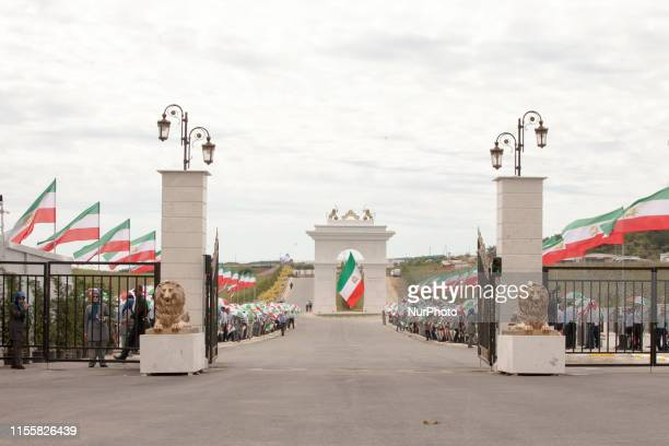 Politicians from more than 40 countries arrives at the Iranian Opposition MEK Headquarters on July 12 near Duress in Albania to attend the annual...