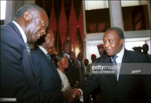 Politicians in Abidjan Cote d'Ivoire on September 22 2000 Laurent Bagboy and R Guei