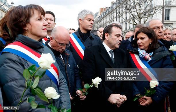 Politicians including LR MP Eric Ciotti LR president Laurent Wauquiez President of the Israelite Central Consistory of France Joel Mergui Mayor of...