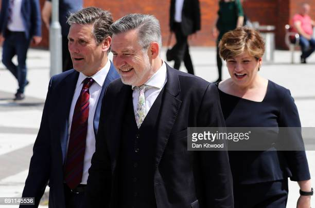 Politicians Keir Starmer Barry Gardiner and Emily Thornberry arrive as Jeremy Corbyn is set to deliver a speech on Labour's plan for Brexit...