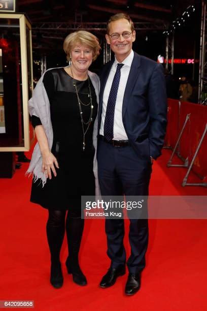 Politicians Monika Gruetters and Michael Mueller attend the 'In Times of Fading Light' premiere during the 67th Berlinale International Film Festival...