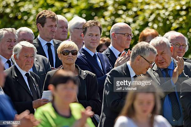 Politicians Nick Clegg and Alistair Campbell attend the funeral service of former Liberal Democrat leader Charles Kennedy at St John's Roman Catholic...