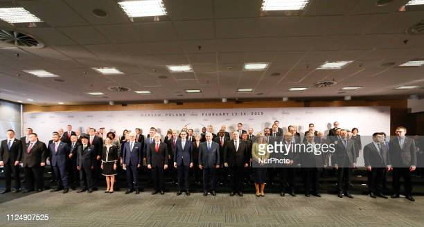 Politicians pose for a family photo in the National Stadium in Warsaw, Poland during the international summit Ministerial to Promote a Future of...