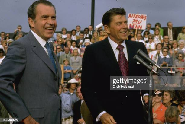 Politicians Ronald Reagan and Richard Nixon campaigning