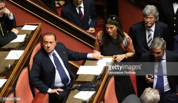 Politicians Silvio Berlusconi and Jole Santelli in the Senate Hall during the Communications of the President of the Council of Ministers. Rome ,...