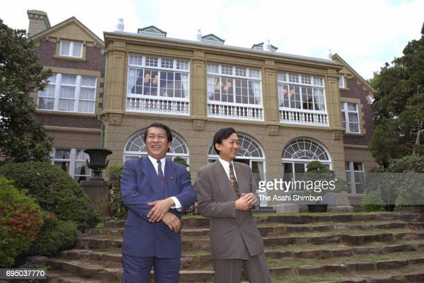 Politicians Yukio Hatoyama and younger brother Kunio Hatoyama are seen in front of the Hatoyama Hall former residence of Prime Minister Ichiro...