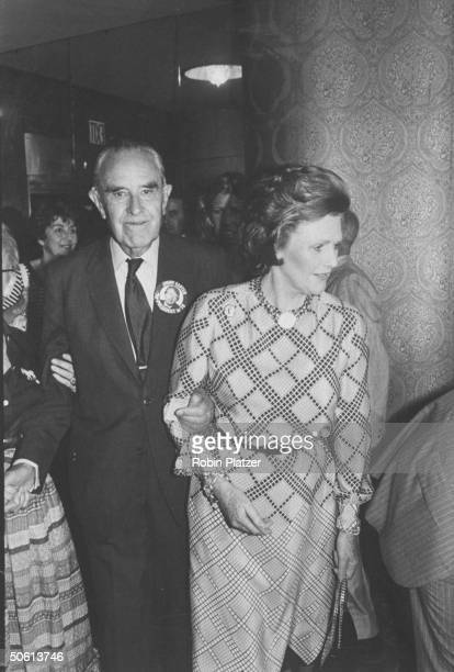 Politico Averell Harriman and wife Pamela attending a Dem Party fund raiser at the Statler Hotel NYC
