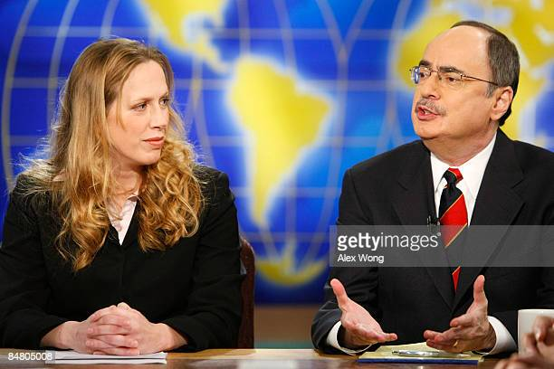 Politico Newspaper's Chief Political Columnist Roger Simon speaks as Wall Street Journal columnist and editorial board member Kimberley Strassel...