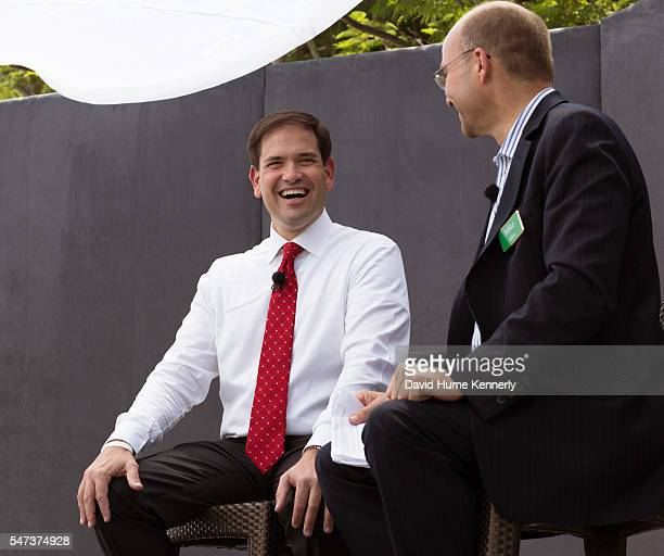 Politico's Mike Allen interviews Republican presidential candidate Sen Marco Rubio of Florida at the Freedom Partners Chamber of Commerce a...