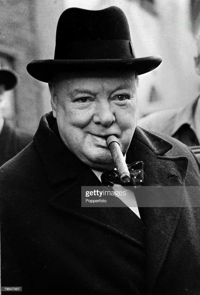 Politics, 1950 General Election, A portrait of Winston Churchill pictured with his trademark cigar after he had won his Woodford constituency but his Conservative Party lost the Election overall to the Labour Party