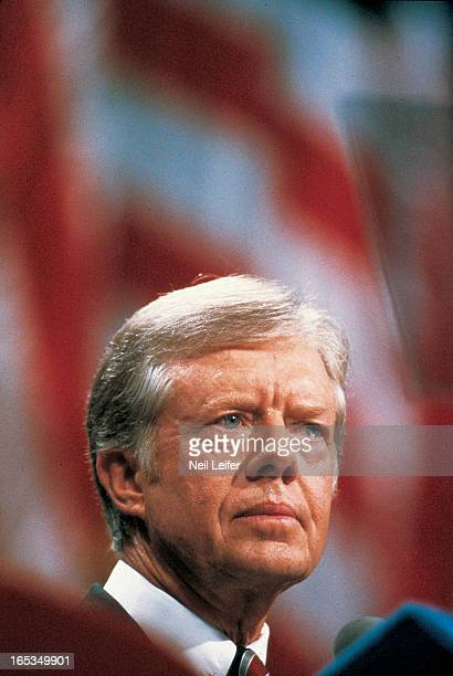 1980 Democratic National Convention Closeup of United States President Jimmy Carter on the stage at Madison Square Garden TIME Magazine Cover New...