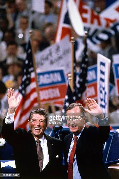 1980 Republican National Convention View of Republican Presidential nominee Ronald Reagan and Vice Presidential nominee George HW Bush on podium at...