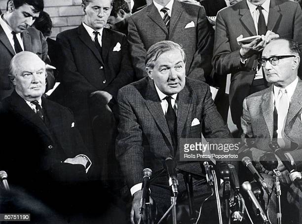 Politics, Belfast, Northern Ireland, August 1969, British Home Secretary James Callaghan gives a press conference upon his arrival at Aldergrove...