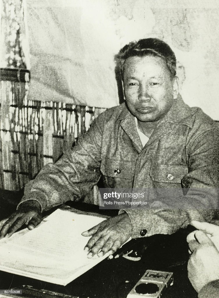 Politics 1979. Cambodia. Asia. Deposed Cambodian Premier Pol Pot gives an interview at his base near the Thai Cambodia border. : News Photo