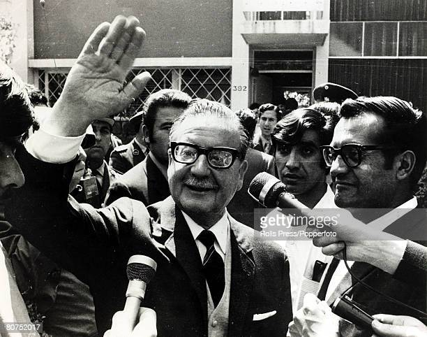 24th October 1970, Chile President-elect Salvador Allende waves to crowds after learning he had been ratified by the Chilean Congress as their new...