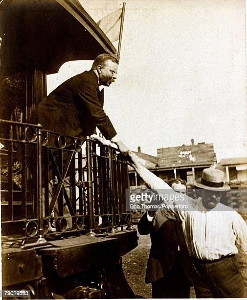 Politics Circa 1900 Theodore Roosevelt USPresident 19011909 President Roosevelt greeting a working man in Tennessee