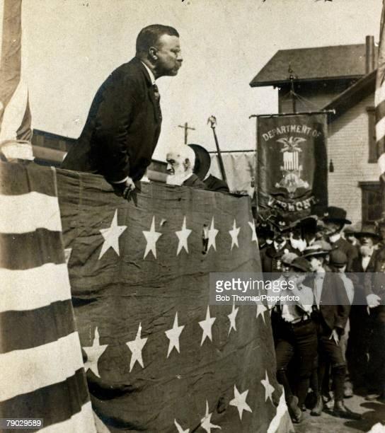 Politics Circa 1900 Theodore Roosevelt USPresident 19011909 President Roosevelt pictured giving a speech at Battleboro