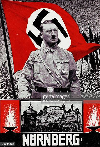 Politics Circa 1930's Adolf Hitler German leader and Nazi dictator Card shows Hitler at Nuremberg rally