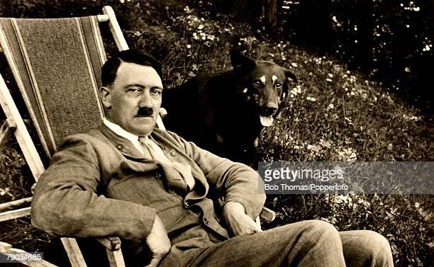 Politics Circa 1930's Adolf Hitler German leader and Nazi dictator Adolf Hitler pictured with one of his dogs