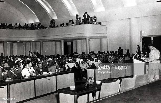 Politics Colonel Nasser of Egypt speaking at the Bandung conference 18th April 1955