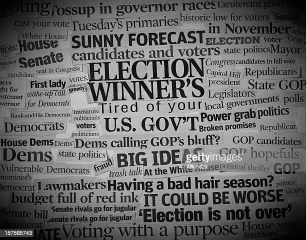 Titulares collage de la política de los Estados Unidos
