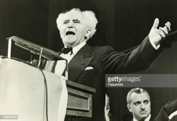 Politics Israeli Prime Minister David BenGurion giving a speech
