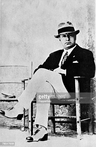 Circa 1930, Benito Mussolini, Italian Fascist Dictator, , relaxing in civilian clothes, Benito Mussolini founded the Fascist movement in 1919 and...