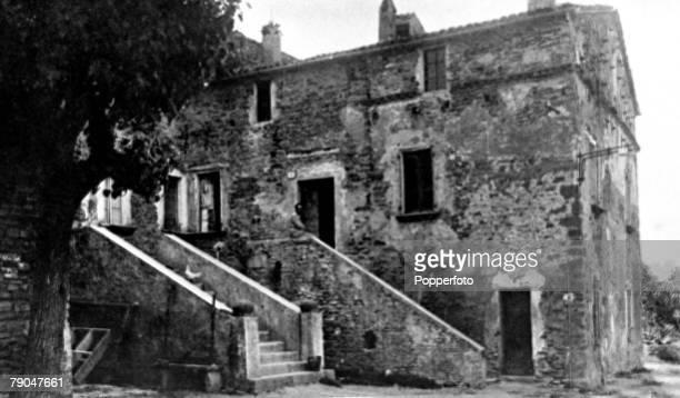 Circa 1930, The house where Benito Mussolini, the Italian Fascist Dictator, was born in the hamlet of Varnano dei Costa in Romagna, Benito Mussolini...