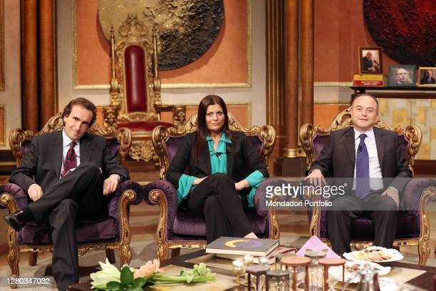 Politics Jole Santelli sitting among the magistrates Stefano Dambruoso and Nicola Gratteri during the television broadcast Telecamere. Rome , May...
