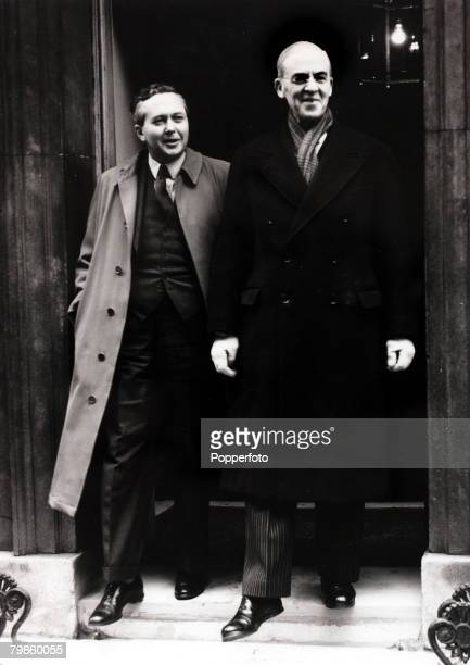 Politics London England 10th January 1950 Harold Wilson left President of the Board of Trade pictured leaving No10 Downing Street with the Chancellor...