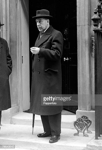 Politics, London, England, April 1939, British politician Sir John Anderson is pictured outside Number 10 Downing Street, He was both Home Secretary...