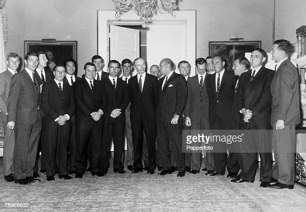 Politics London England April 1964 10 Downing Street reception The British Prime Minister Sir Alec Douglas Home meets the Australian Cricket team at...