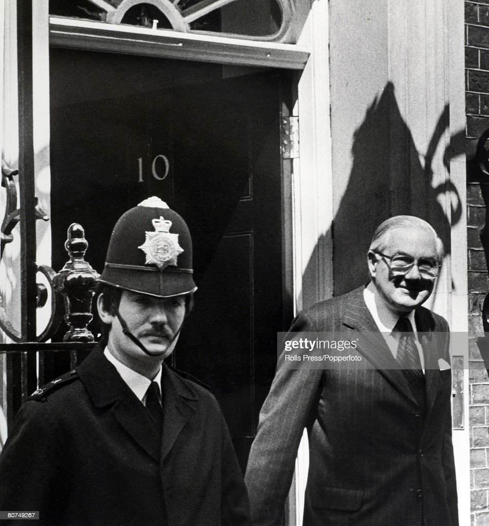 Politics, London, England, April 1979, Former British Labour Prime Minister James Callaghan leaves 10 Downing Street to see the Queen to tender the resignation of his government after loosing the General Election to the Conservative party lead by Margaret Thatcher