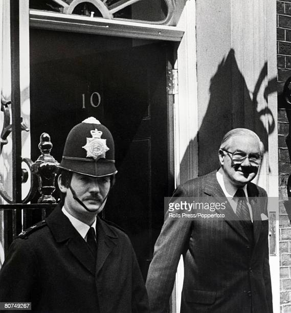 Politics London England April 1979 Former British Labour Prime Minister James Callaghan leaves 10 Downing Street to see the Queen to tender the...