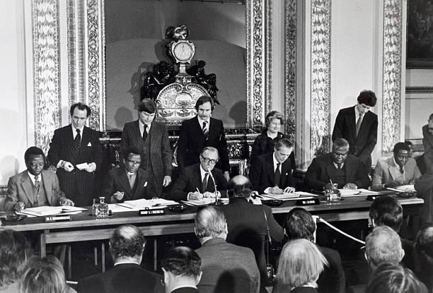 Politics London England1979 Britian And Leaders Of Rhodesias
