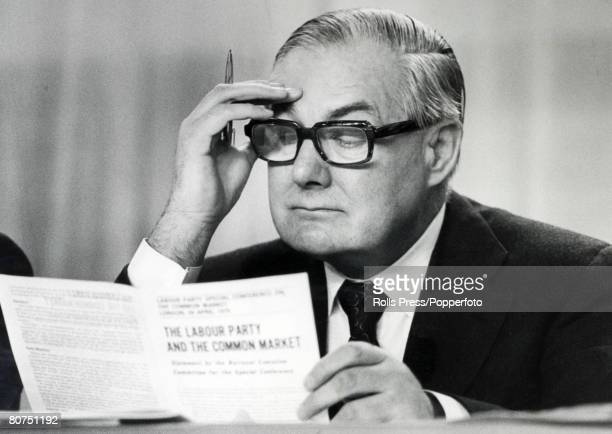 Politics London England British Foreign Secretary James Callaghan studies a document entitled The Labour Party and the Common Market as the party...