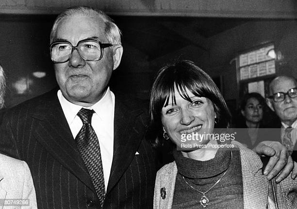 Politics London England British Labour Prime Minister James Callaghan with Labour candidate for Ilford North Tessa Jowell as they campaign in the...
