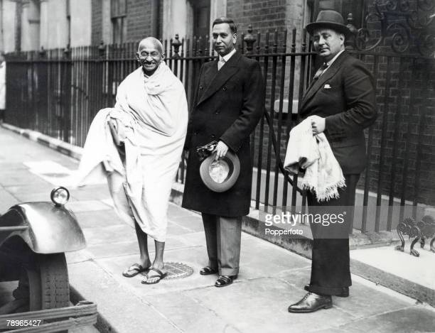 Politics London England Indian Leader Mahatma Gandhi leaving 10 Downing Street while on a visit to Great Britain
