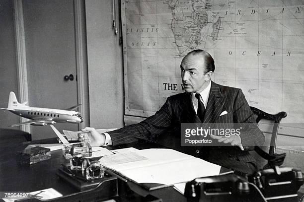Politics London England John Profumo Parliamentary Secretary to the Ministry of Civil Aviation at his desk