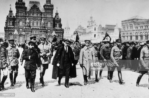 Politics Moscow Russia 25th May 1919 Vladimir Lenin with cap and his coat draped over his shoulders leaves Red Square after addressing troops of the...
