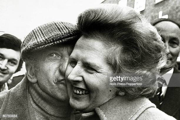 12th April 1979 London England Conservative Party leader Margaret Thatcher gets a kiss from Petticoat Lane stallholder Lew Pickle on her East End...