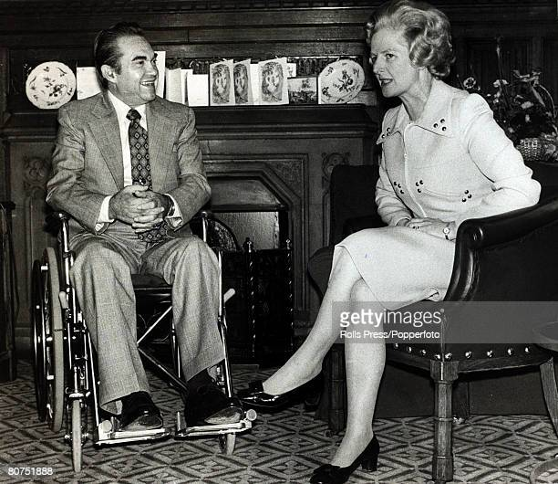 14th October 1975 London England Conservative Party leader Margaret Thatcher with the Governor of Alabama George Wallace Margaret Thatcher English...