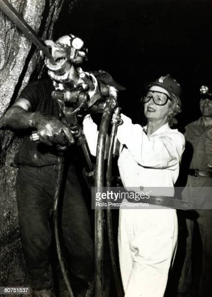 1976 Conservative Party leader Margaret Thatcher handles a silver mine drill at the Broken Hill mine west of Sydney Australia Margaret Thatcher...