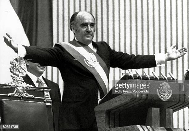 Politics Personalities pic 1976 Mexico CityJose Lopez Portillo becomes the 60th President of Mexico at the innaugural ceremony as he spreads his arms...