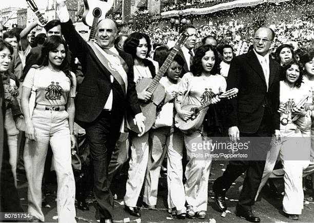 "Politics, Personalities, pic"" 1976, Mexico City,Jose Lopez Portillo waves to the crowd after becoming the 60th President of Mexico at innaugural..."