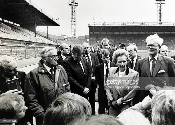 Politics, Personalities, pic: 1989, British Prime Minister Margaret Thatcher flanked by Sports Minister Colin Moynihan and Sir Douglas Hurd, visiting...