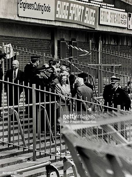 1989 British Prime Minister Margaret Thatcher visits Hillsborough Stadium Sheffield where 95 people died during the 1989 FACup SemiFinal Margaret...