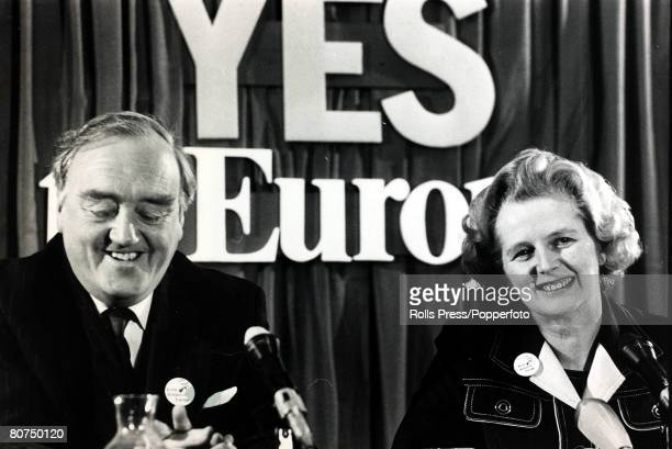 3rd June 1975 London England Conservative Party leader Margaret Thatcher bwith the Deputy Leader William Whitelaw during the referendum campaign on...