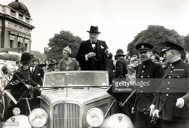5th July 1945 Prime Minister Winston Churchill with his wife Clementine on an election tour at his constituency at Woodford Essex